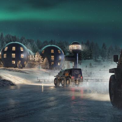 северное сияние, Экстерьер, ночь, снег, зима, Концепт-арт, тайга, полярный, ретрофутуризм, sci-fi