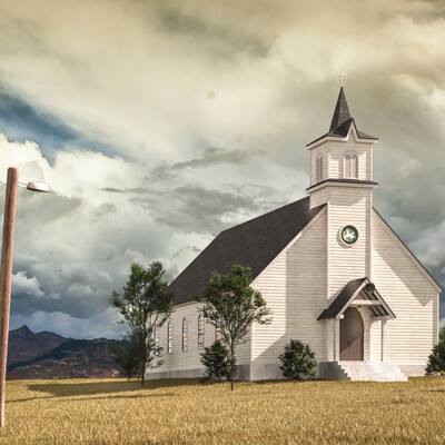 церковь, машина, Пейзаж, степь, пустыня
