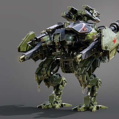 ROMANZHURAVLYOV, Mecha, robot, dron, Tank, hard surface, weapon, hightech, metal, military