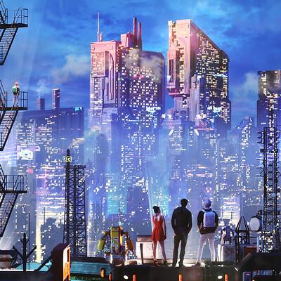 киберпанк, digitalart, окружающая среда, ВНЕШНИЙ ВИД, футуристический, игра, НЕОНОВЫЙ, научная фантастика