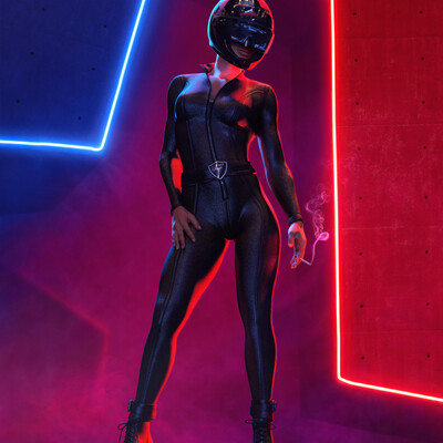 cosplay, girl, black, red, suit, latex, night, club, scifi, Smoke