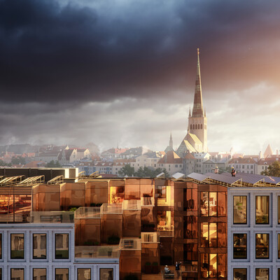 3D Architecture, exterior visualisation, coronarenderer, sunset, oldtown, Tallinn