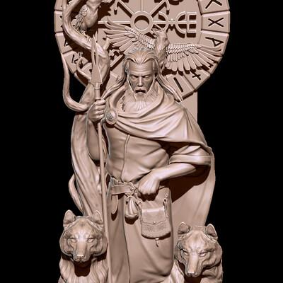 один, мифология, скандинавская мифология, идол, Волки, вороны, Язычество, фигура, модели для чпу, 3d модели для станков ЧПУ.