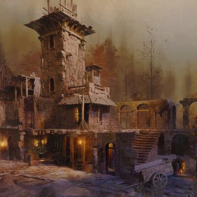 3d, Кладбище, средневековье, осень, руины, Старый дом, тоска, заброшенный