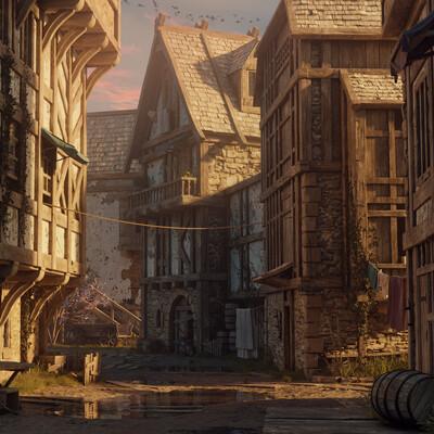 средневековье, улица, дом, утро, ночь, вечер, рассвет