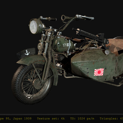 Transport & Vehicles, hardsurfaces, Wargaming, Japanese, motorcycle, art, game asset, low-poly