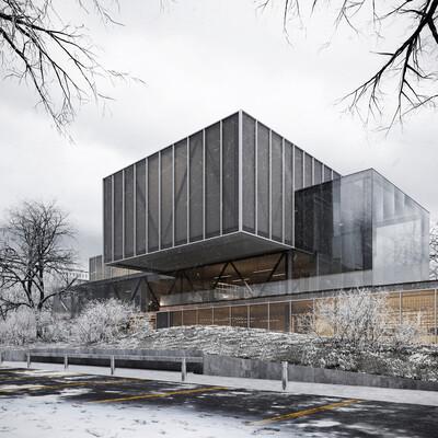 архитектура, архитектурная визуализация, Экстерьер, зима