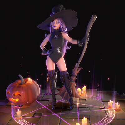 witch, girl, 3dcharacter, Character, characterdesign, 3dart, Halloween, hat, broom, pumpkin