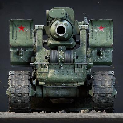 howitzer, cannon, B4, Soviet, USSR, stalin, War, military, asset, ww2