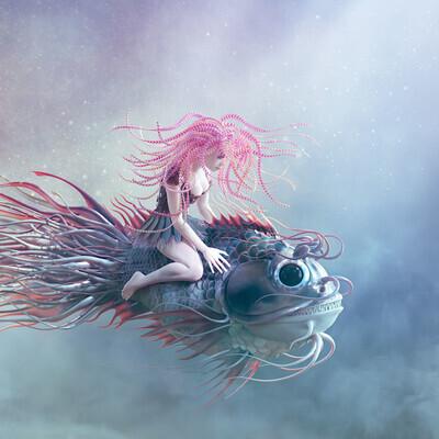 рыба, рыбка, девочка, под водой, русалка, мечта, полет, фентези