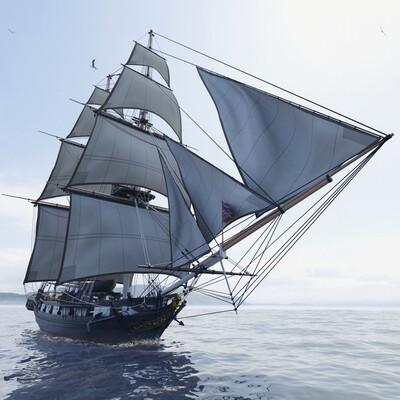 корабль, океан, море, военный корабль, судно, парусник, пушки