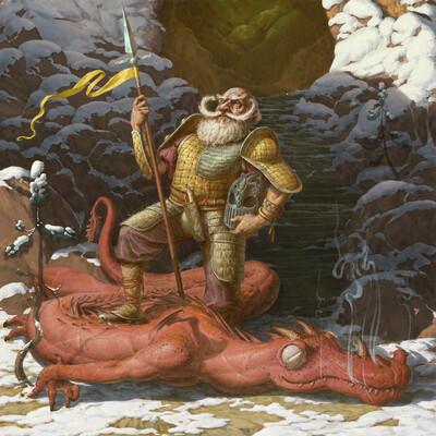 fantasy, Illustration, warrior, dragon, dragons, Procreate, character, дракон, Фэнтези