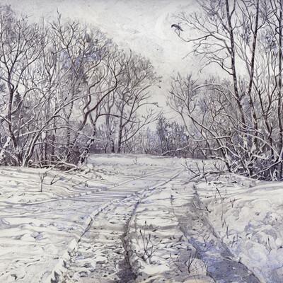 ЗИМНЯЯ КАРТИНА, зимние деревья, ЗИМНИЕ ДЕРЕВЬЯ НАРИСОВАННЫЕ ТУШЬЮ