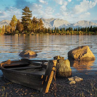 озеро, лодка, вечер