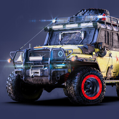 Cyberpunk 2077, ROMANZHURAVLYOV, hardsurfaces, cardesign, gameart, conceptcar, Transport & Vehicles, RUSSIAN CYBERPUNK, UAZ, hunter
