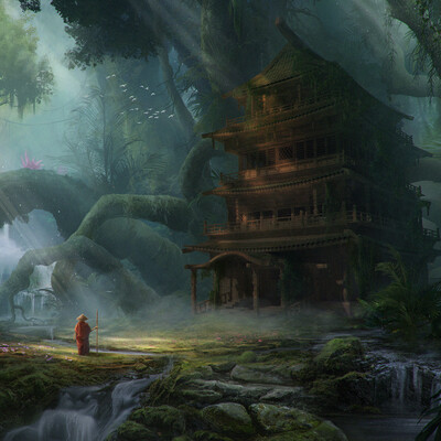 concept-art, Environments, fantasy, magical forest, asian, Shrine
