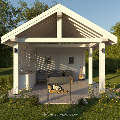 Pergola, 3d, visualization, cgi, Exterior, architecture, cgiarchvis, summer, grill, sunset