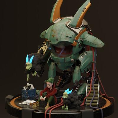 blender3d, Digital 3D, robot, Character