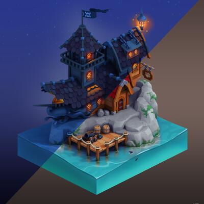 таверна, пираты, корабль, архитектурная концепция, 3D архитектура, дизайн окружения, концепт арт окружения, 3д окружение