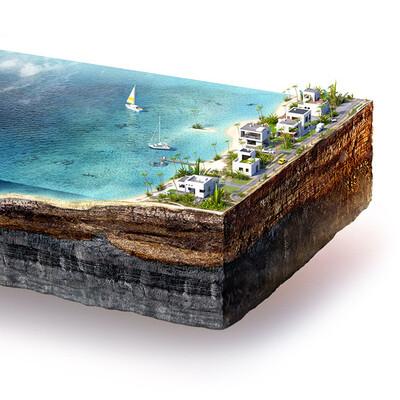 3d, море, Пляж, вода