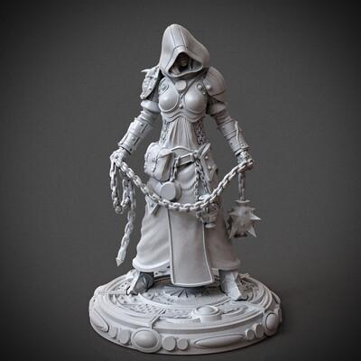 miniature, arjkalobas, sculpt, 3dprint, modelfor3dprint, miniatures, 3dpress, girl, priest