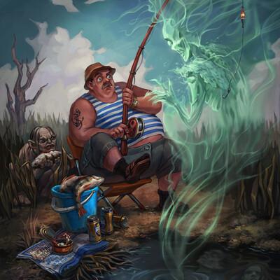 The Lord of the Rings, illustration, digital 2D, Fantasy, Tolkien, Gollum, fishman, Dead Marshes, fishing