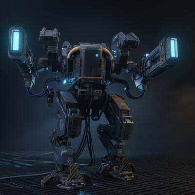 Mecha, Hard Surface, blender, robot, volkite weapon, Warhammer40k, adeptus mechanicus, kaino