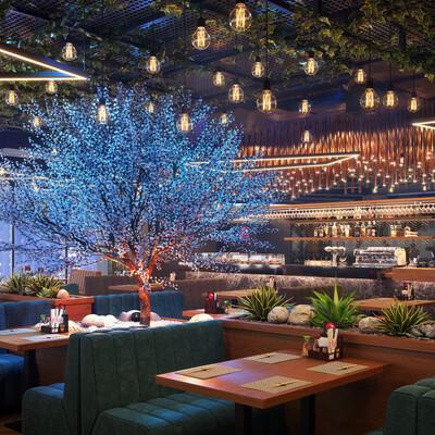 3Dsmax, Corona Renderer, interior, interior design, restaurant