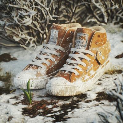 зима, весна, обувь, снег, ландыш, цветок, кеды, мех, quixel megascans