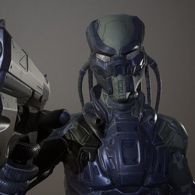 кибер, солдат, персонаж, игра, Оружие