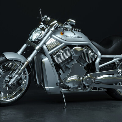 Harley-Davidson V-Rod, 3ds Max, Corona Renderer, Adobe Photoshop, modeling, high poly