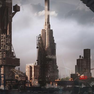 Арт-Деко, концептуальное искусство, Среды, иллюстрация, стимпанк, городок, Город, промышленный, Архитектура, Китбаш