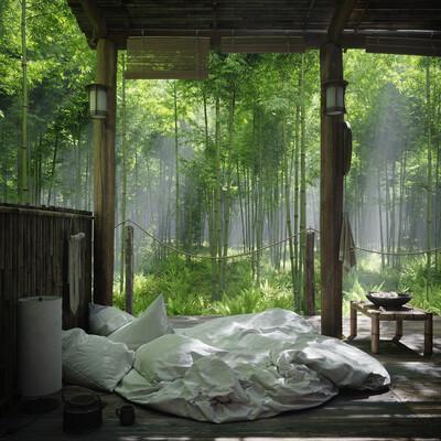 бамбук, лес, хижина
