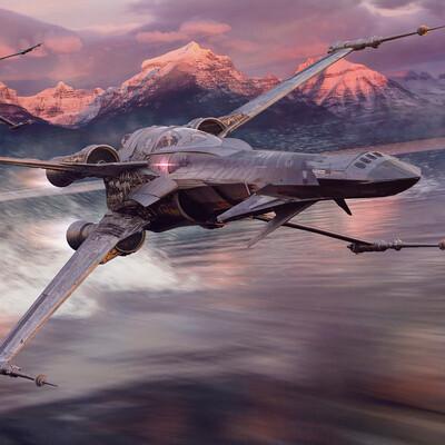 x-wing, sci-fi, jet fighter, starwars, 2d, 3d, modern concept, concept-art, 3dconcept