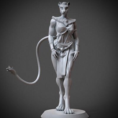 miniature, arjkalobas, sculpt, 3dprint, modelfor3dprint, miniatures, cat, egyptian, Egyptian Priest Cat