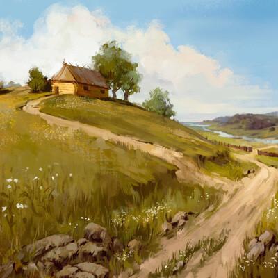 Деревня у реки, древняя русь, хижина, день, солнце, дорога