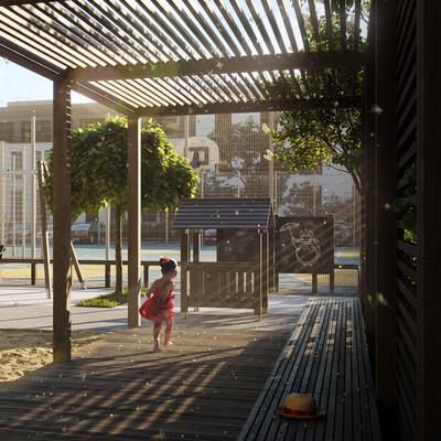 Экстерьер, двор, благоустройство, площадка, беседка, песочница, закат, утро, дети, Пергола
