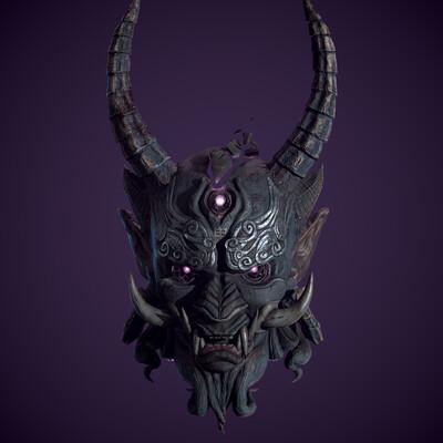 японская маска, 3d маска, лоуполи, демон, рога, броня, пропсы, игровая модель, стилизация, Стилизованная модель