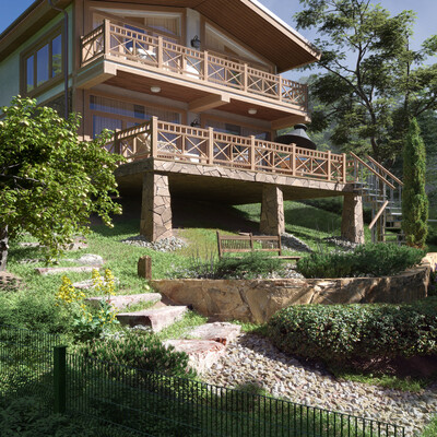 коттедж, Архитектура, Визуализация, дом