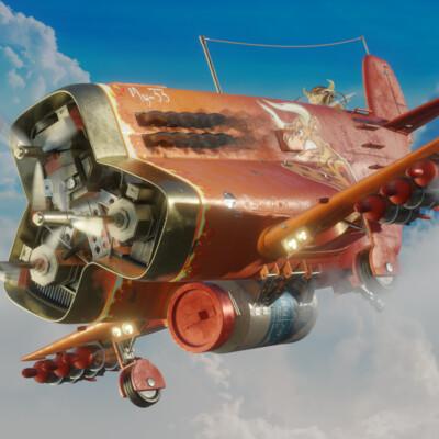 самолеты, пилот, бык, hurdsurface, Digital 3D