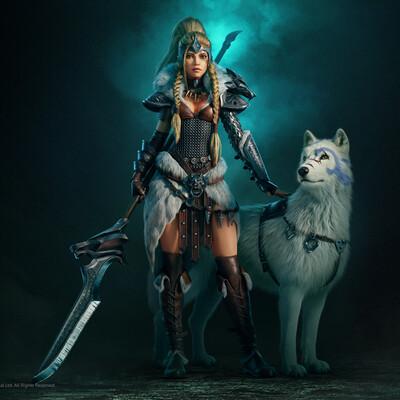 Plarium, Vikings, scandinavian, Wolfs, girl warrior, Game Art, Character, Mobile game, Vikings: War of Clans
