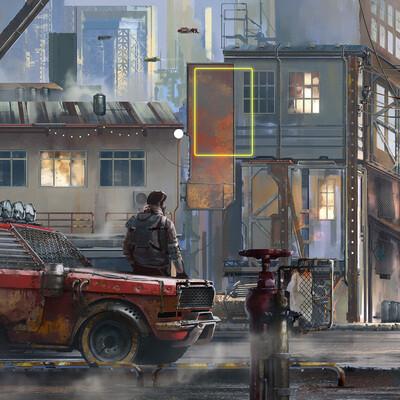 городская панорама, дизель панк, автомобиль, Город, асфальт, транспорт, дизайн транспорта, улица, будущее