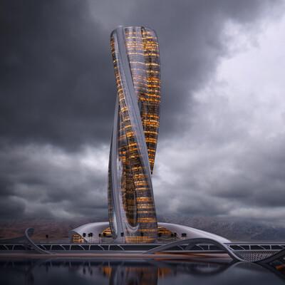 architecture, coronarender, Exterior, skyscraper, highrise