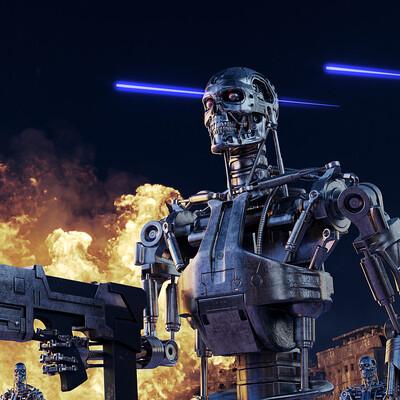 терминатор, робот, война, взрыв, солдат, руины, череп