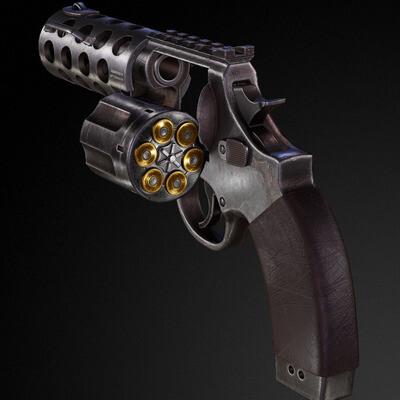 револьвер, оружие, геймарт, Концепт-арт, 3д модели, 3д моделирование, Моделирование, хайполи, лоуполи, текстурирование