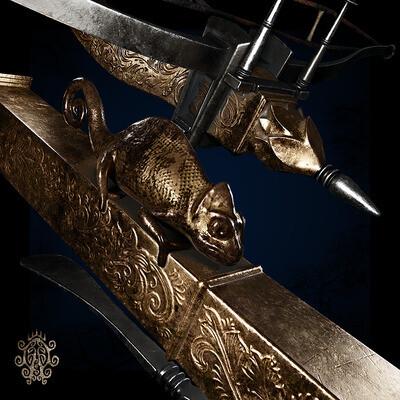 арбалет, оружие, средневековый, хамелеон, 16 век, лоуполи, геймдев, гейм реди, фэнтэзи, золото
