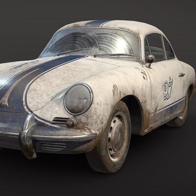 porsche, 356c, car, автомобиль, купе, Порше, классический, грязный