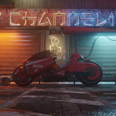 Аниме, Акира, киберпанк, мотоцикл, game low poly