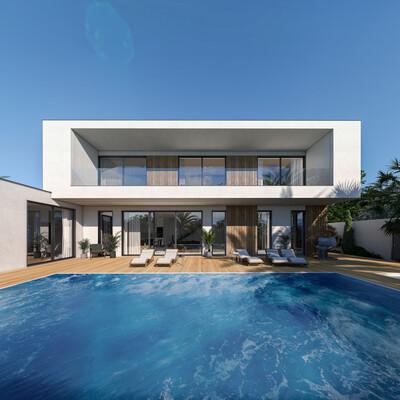Визуализация, Экстерьер, экстерьерная визуализация, Экстерьер дома с бассейном, Визуализация экстерьеров, архивиз, архитектурная визуализация, частный дом, вилла, Сочи