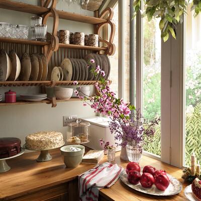 kitchen, light, pomegranate, table, cozy atmosphere